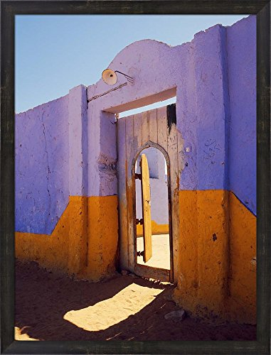Nubian Village (Courtyard Entrance in Nubian Village Across the Nile from Luxor, Egypt by Tom Haseltine / Danita Delimont Framed Art Print Wall Picture, Espresso Brown Frame, 23 x 30 inches)
