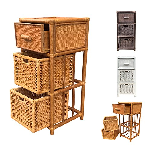 Rattan Nightstand Chest Basket Storage Unit model Dennis with Drawer 3Colors (Light Brown)