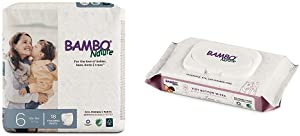 Bambo Nature Premium Training Pants, Size 6 (40+ lbs), 18 Count with Bambo Nature Tidy Bottoms Baby Wipes 50 Sheets