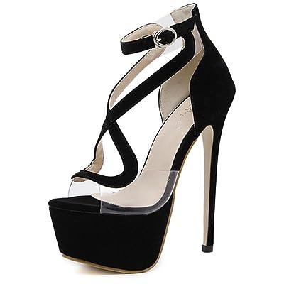 Sandales à Talons Hauts d'été pour Femme,Femmes Femmes Stiletto Fashion High Heels Straps Fish Mouth Evening Party Prom Nupti Sandales Chaussures Taille