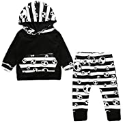 Flower Tiger Newborn Baby Boys Girls Skull Bone Hoodie Legging Pants Outfit Set (12-18 Months, Black)