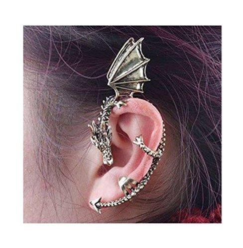 Fashion Earrings Classic Dragon Ear Wrap Cuff Earring Punk Rock Left Ear (antique silver)
