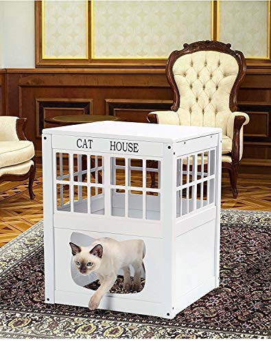 Lexi Home Wooden Cat House - Multi-Functional Cat Houses or Litter Box Cover - White Cats House - Cat Outdoor House (Flower Pot Cat Litter Box)