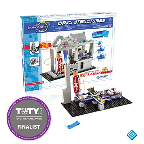 Snap Circuits BRIC: Structures ~ Brick and Electronics Exploration Kit | Over 20 STEM & Brick Projects | 4-Color Idea Book | 20 Snap Modules | 75 BRIC-2-SNAP Adapters | -