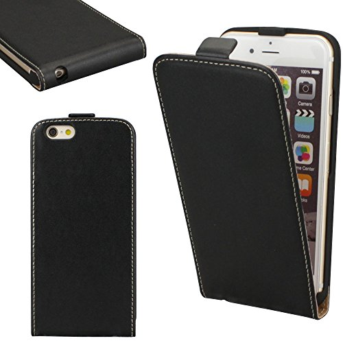 Apple iPhone 6 Plus / 6S Plus Flip Case Cover PU Leder Tasche Schwarz von cTRON21