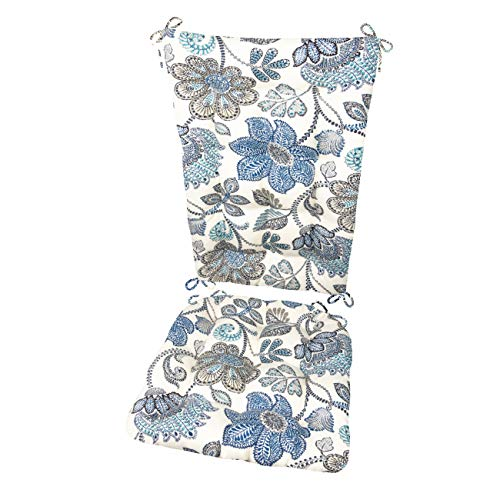 Barnett Products Boutique Floral Porch Rocker Cushions - Sizes Standard - Indoor/Outdoor: Fade Resistant, Mildew Resistant - Latex Foam Filled Cushion, Reversible (Blue/White)