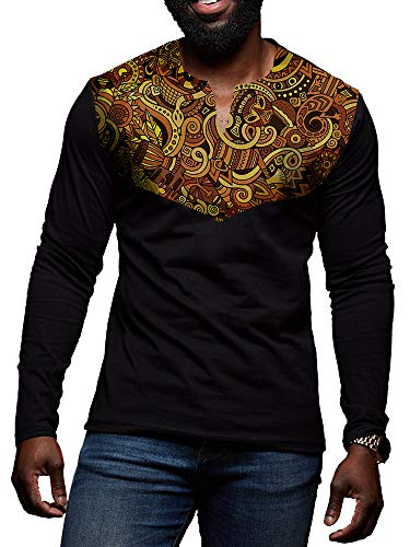 (Mens African Print Dashiki Shirt Floral Tribal Casual Long Sleeve V Neck Slim Fit T Shirt Pullover Tees Tops Black)