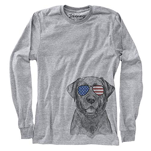 (Inkopious Patriotic Heath The Black Lab Labrador Retriever Dog Women's Long Sleeve T-Shirt 2XL Grey)