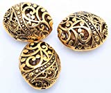 10pcs Antique Tibetan Gold Ellipse Shaped Hollow Spacer Oval Beads Handcrafts Finding Jewelry Making DIY