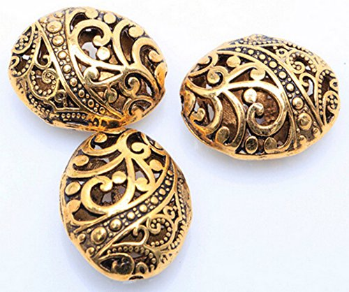 10pcs Antique Tibetan Gold Ellipse Shaped Hollow Spacer Oval Beads Handcrafts Finding Jewelry Making (Oval Bracelet Bead)
