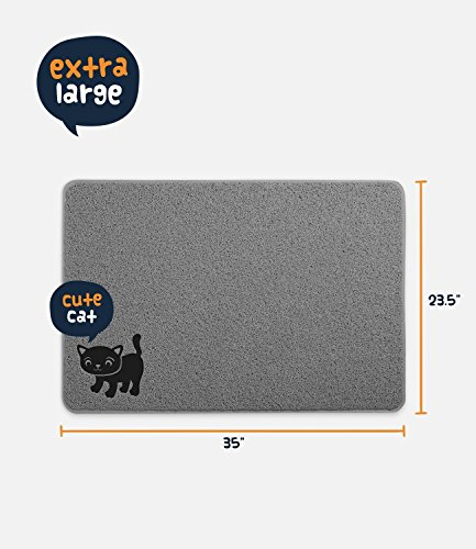 "Smiling Paws Pets Premium Cat Litter Mat, BPA Free, XL Size 35'' x23.5"", Non-Slip - Tear & Scratch Proof, Easy to Clean Kitty Litter Catcher Scatter Control (Extra Large Gray) by Smiling Paws Pets (Image #2)"