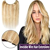 16'' Human Hair Hidden Wire Hair Extensions Secret Fish Line Extensions Thin Long Straight No Clips No Glue Hairpieces Invisible Fish Line in 16'' 60g #18/613 Ash Blonde Mix Bleach Blonde