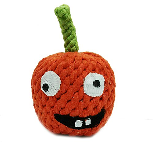 Jax and Bones Good Karma Holiday Halloween Rope Dog Toy, 4-Inch, Gourdy The Pumpkin]()