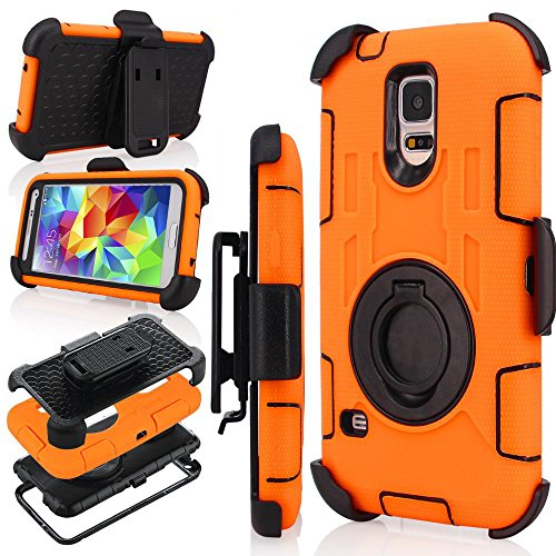 J.west S5 Case, Galaxy S5 Holster case, Hybrid Dual Layer Combo Armor Defender Protective Case With Kickstand + Belt Clip Holster For Samsung Galaxy S5 - Orange ()