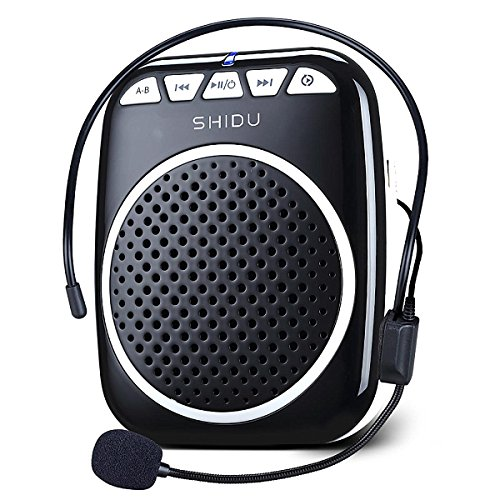 Zoweetek SHIDU S308 Portable Rechargeable Mini Voice Amplifier With Wired Microphone Headset and Waistband for Teachers, Tour Guides, Coacher, Singing, Training and Presentation (Black)