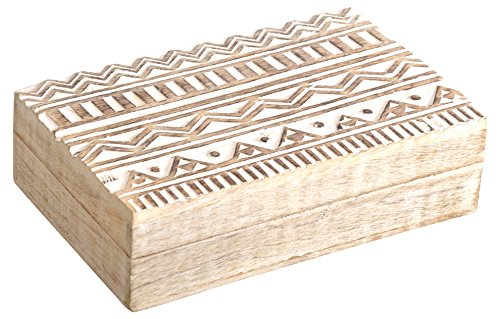 SAAGA Multipurpose Decorative Wooden Jewelry Trinket Holder Keepsake Storage Box with Geometrical Design / Handmade : 8×5.5×2.5 inches (LxBxH)