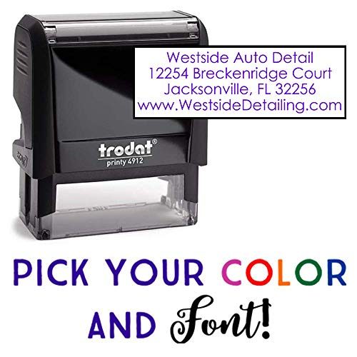 Custom Address Stamp - 3 Line Address Stamp - 20 Font Options - Self-Inking Address Stamp (4 Line - Stamp Address Personal