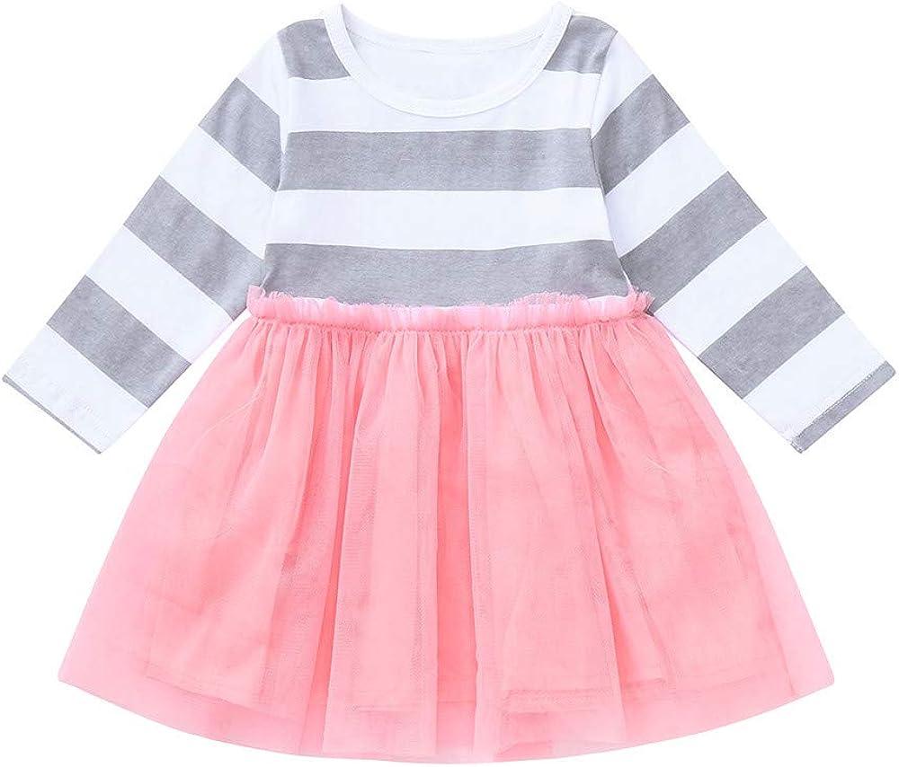 12M-4TM Long Sleeve Gauze Stripe Tulle Skirts Birthday Clothes ✦Baby Toddler Girl Tutu Dress residentD