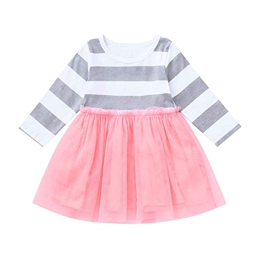 518a9a533 Amazon.com  Lavany Little Baby Girl Tutu Dress Stripe Tulle Clothes ...