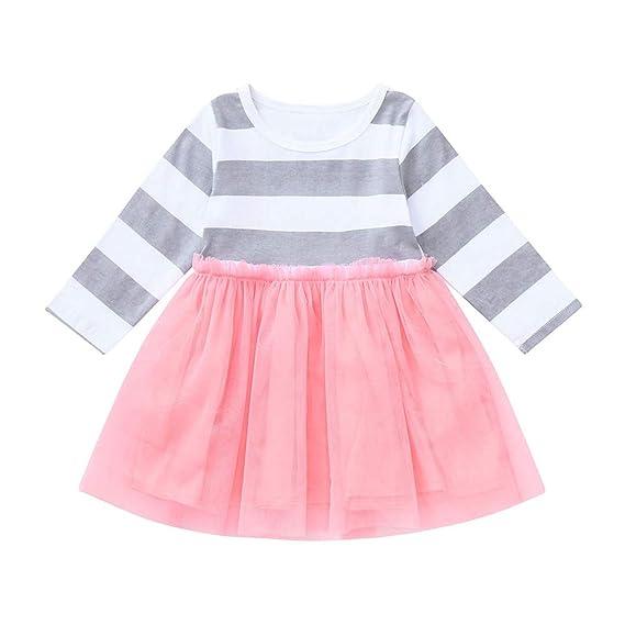 ZODOF Vestido de Princesa de Rayas Linda niña Vestido de tutú de niña pequeña Manga Larga