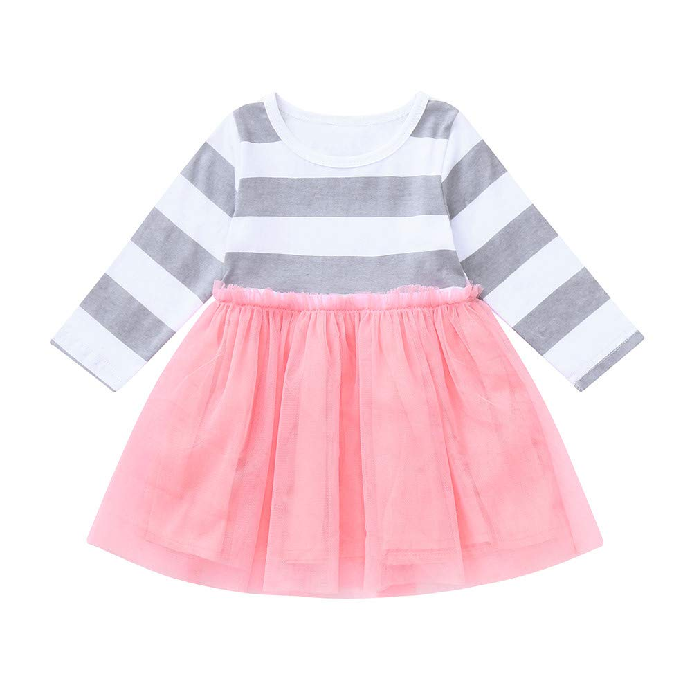 2-6 Years Girls Dress Clothes,Baby Toddler Long Sleeve Gauze Stripe Tulle Skirts (5T, Pink)