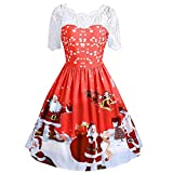 HHei_K Womens Lounge Loose Santa Claus Printed A-Line Floral Lace Patchwork Retro Christmas Swing Dress