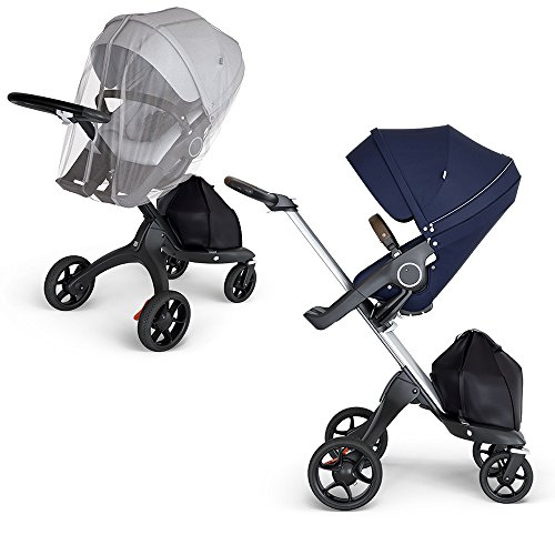 (Stokke Xplory Silver Chassis, Seat - Deep Blue/Brown Leatherette Handle & Mosquito Net)