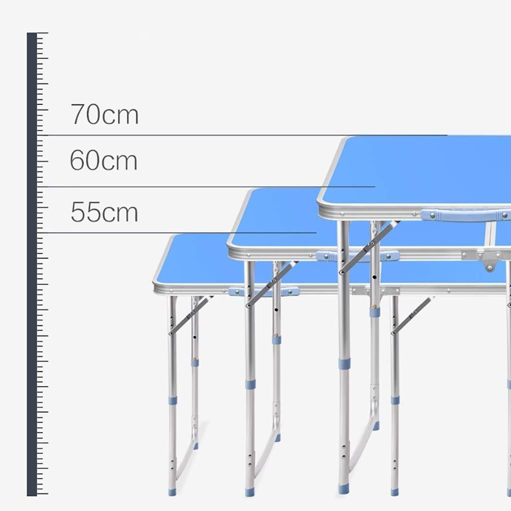 MLX Gran Mesa y Silla Plegables rectangulares, Longitud Ajustable 70/60 / 55cm, Plegable con Orificio for sombrilla, Apta for Fiesta de Picnic al Aire Libre, Plateado y Azul Opcional (Color : Blue):