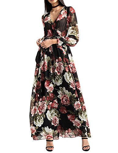 HaoDuoYi Womens Tropical Floral Print Pleated Tunic V Neck Wedding Maxi Dress