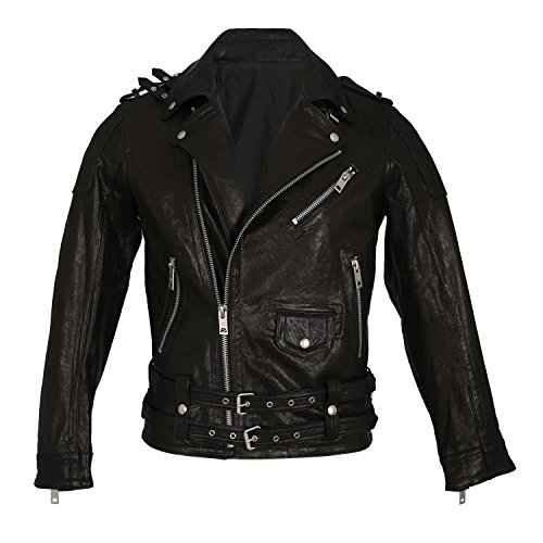 Genuine Sheepskin Men Motorcycle Jacket,Anweer Men's Lapel Lambskin Jackets Oblique Zipper Motorcycle Rock Real leather Coats (M)  Price: $39.99