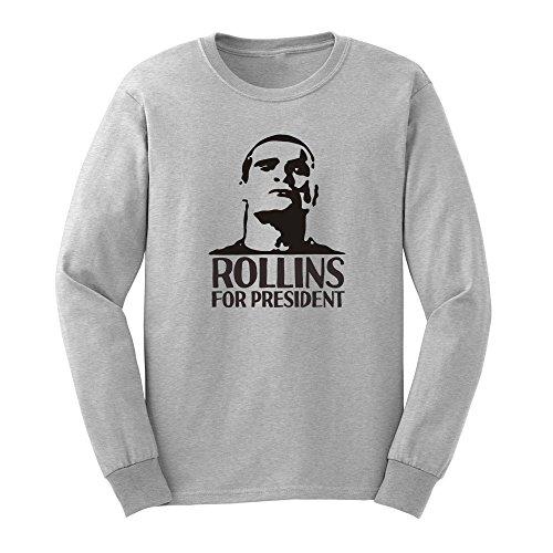 Mens Rollins for President Long Sleeve T-Shirts Henry Rollins Punk Rock Men Tee (Shirt Rollins Henry)