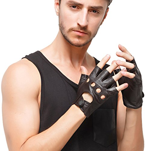 (Nappaglo Men's Leather Driving Gloves Italian Lambskin Half Finger Fingerless Unlined Gloves for Motorcycle Cycling Riding (M (Palm Girth:8