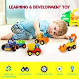 Friction Powered Cars Push and Go (4 Pack), Construction Vehicles Toys for Toddlers Including Tractor, Bulldozer, Cement Mixer, Dump Truck, Car Truck Toys Play Set for 2 3 4 Years Old Boys Gift