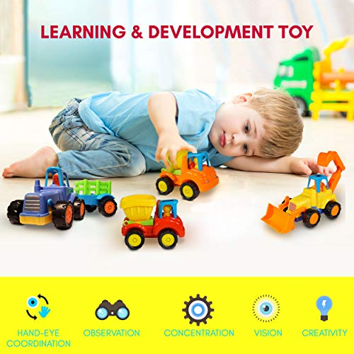 - Friction Powered Cars Push and Go (4 Pack), Construction Vehicles Toys for Toddlers Including Tractor, Bulldozer, Cement Mixer, Dump Truck, Car Truck Toys Play Set for 2 3 4 Years Old Boys Gift
