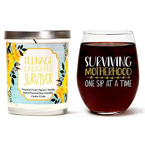 10 Mothers Day Wine - Cedar Crate Market Surviving Motherhood Set | Cute Stemless 15oz Wine Glass| Teenage Daughter Survivor Luxury Scented 10 oz. Soy Candle | Tropical Fruit, Spice, Vanilla | Best Gift for Mother's Day