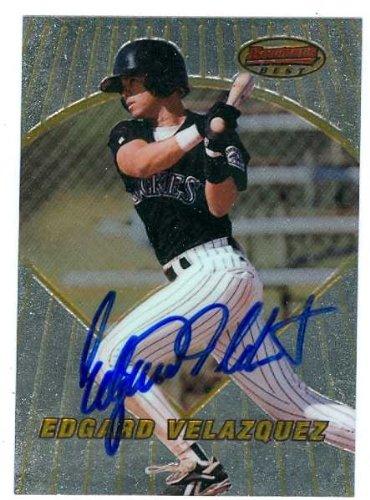 Edgard Velazquez autographed Baseball Card (Colorado Rockies) 1996 Bowmans Best #132