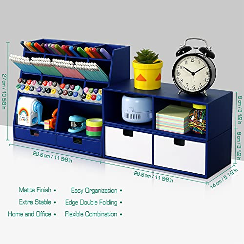 Desk Organizer and Accessories with 4 Drawers & 16 Compartments Twice Capacity - Art Supply Organizer for Home, School, Office Supplies, FSC Certified Cardboard, DIY Project, Easy Assembly, Blue