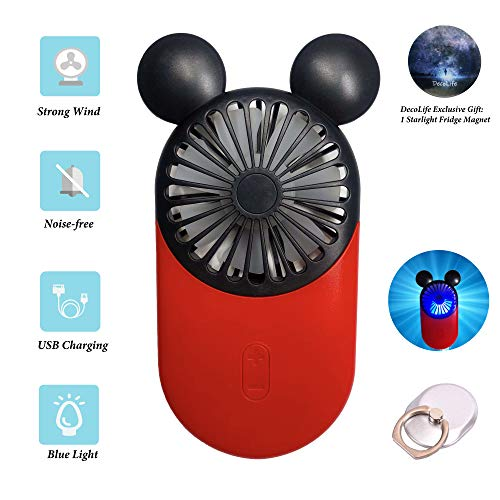 (DecoLife Cute Personal Mini Fan, Handheld & Portable USB Rechargeable Fan with Beautiful LED Light, 3 Adjustable Speeds, Portable Holder, Perfect for Indoor Or Outdoor Activities, Cute Mouse)