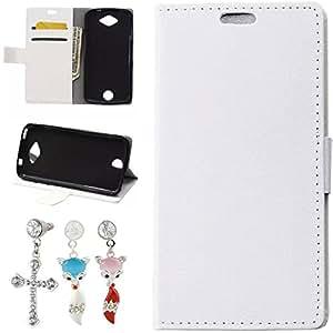 Mobilefashion Funda de PU Cuero Case para Acer Liquid Z530 (Blanco) Con Soporte Plegable y Ranura para tarjeta + 1x Color al azar gratis tapón de polvo
