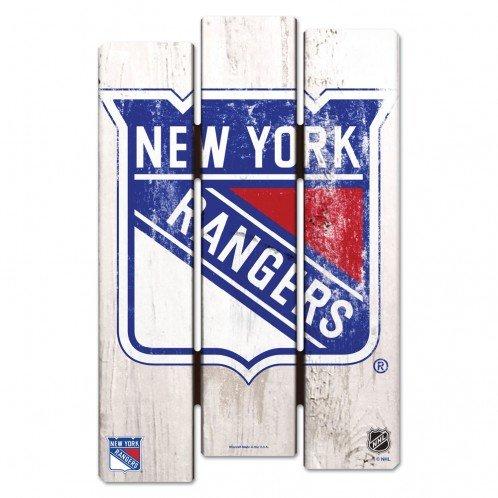 WinCraft NHL New York Rangers Wood Fence Sign, Black (Rangers Wood)