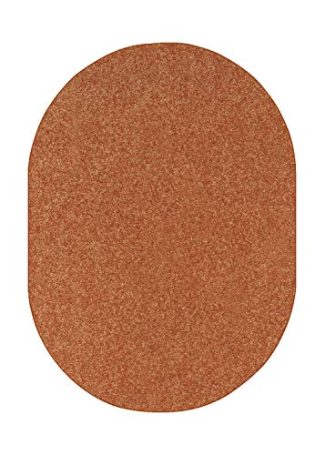 Ambiant Pet Friendly Solid Color Area Rug Rust -4 x6 Oval