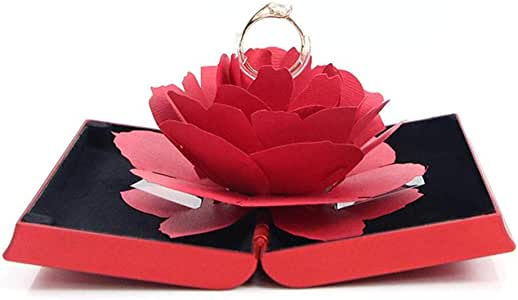 3D Pop Up Rose Ring Holder Ceremony Engagement Wedding Ring Box Uncommon Jewelry Gift (Red)