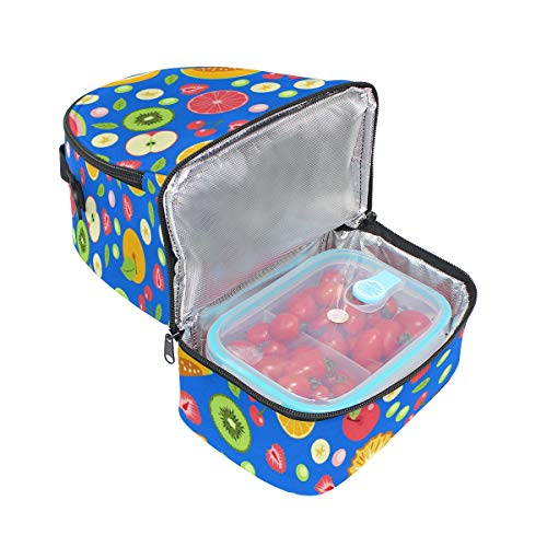 Fruits lunch Boîte isotherme avec Pincnic Folpply Sac à Tote à Cooler bandoulière l'école réglable d'été pour coloré 1wXt5tBx