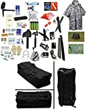 4 Person Supply 5 Day Emergency Bug Out SOS Food Rations, Drinking Water, LifeStraw Personal Water Filter, First Aid Kit, Tent, Blanket, Duffel Bag, ACU Poncho + Essential 21 Piece Survival Gear Set