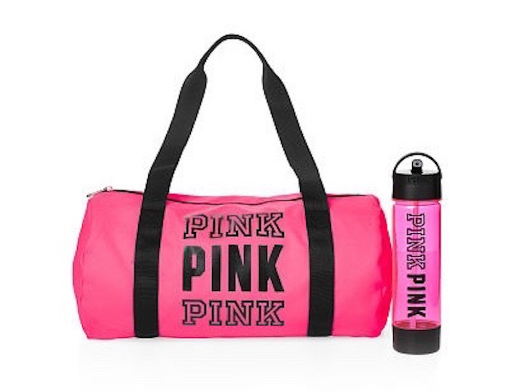7981fe9a4ce9 lovely Victoria s Secret PINK Friday Duffle   Campus Water Bottle Duo Neon  Hot Pink