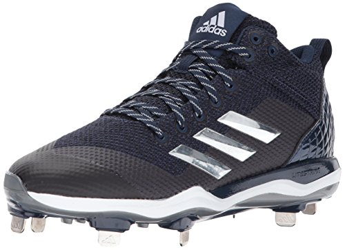 adidas Men's Freak X Carbon Mid Baseball Shoe, Collegiate Navy, Silver met, FTWR White, 10.5 M US