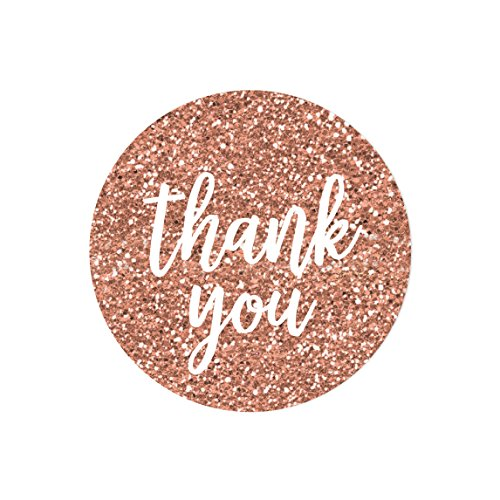 Andaz Press Round 2-inch Circle Label Stickers, Faux Rose Gold Glitter Script Style White, Thank You, 40-Pack, Champagne Colored Wedding Baby Shower Birthday Decorations