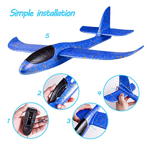 Refasy Foam Airplanes for Kids Children 18.9inch Gliders Airplane Toy Set Hand Throwing Challenging Model Foam Aircarft Two Flight Modes Best Outdoor Sport Flying Plane Toys for Kids Gift Blue by Refasy (Image #3)