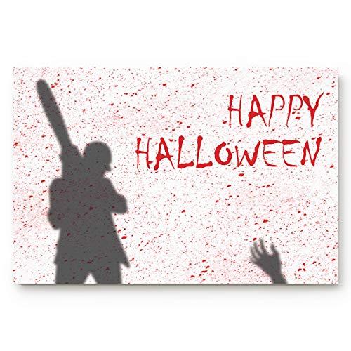 Fafahome Happy Halloween Doormat Horror Bloody Chainsaw Killer