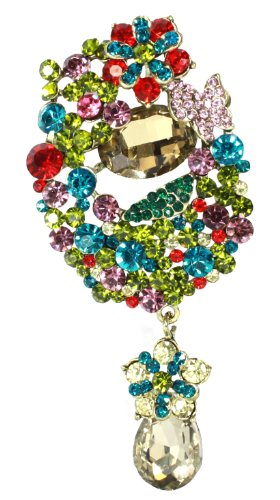 Bijoux De Ja Gold Plated Base Assorted Color Crystal Vintage Flower Pin Brooch - Upper Side West Repair Jewelry